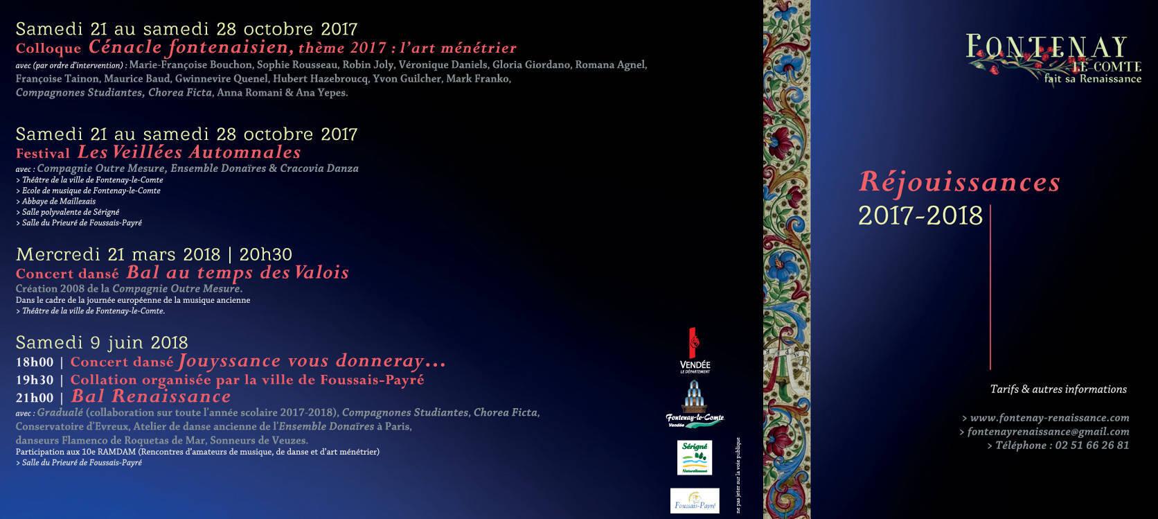 fontenay le comte fait sa renaissance - programme des réjouissances 2017-2018